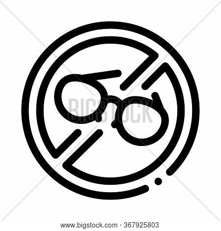 Ban On Wearing Glasses Icon Vector. Ban On Wearing Glasses Sign. Isolated Contour Symbol Illustratio
