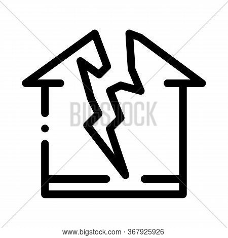 Lightning Destroyed House Icon Vector. Lightning Destroyed House Sign. Isolated Contour Symbol Illus