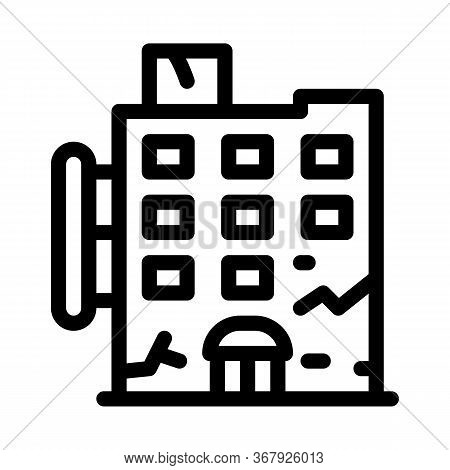 Crack On Residential Building Icon Vector. Crack On Residential Building Sign. Isolated Contour Symb