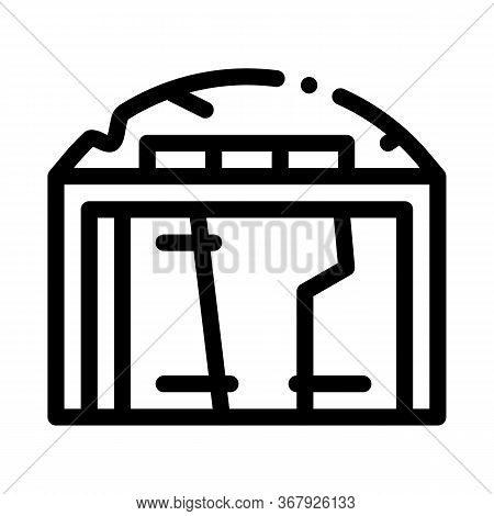 Destroyed Garage Icon Vector. Destroyed Garage Sign. Isolated Contour Symbol Illustration