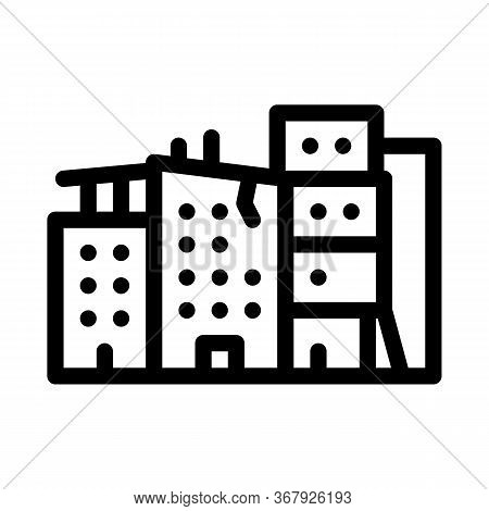 Destroyed High-rise Buildings Icon Vector. Destroyed High-rise Buildings Sign. Isolated Contour Symb