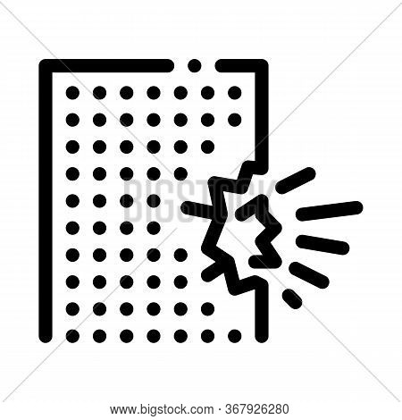 Blow House Collapse Icon Vector. Blow House Collapse Sign. Isolated Contour Symbol Illustration