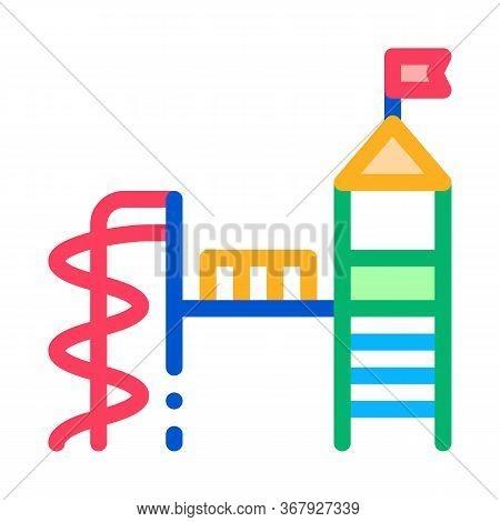 Playground For Children Icon Vector. Playground For Children Sign. Color Symbol Illustration