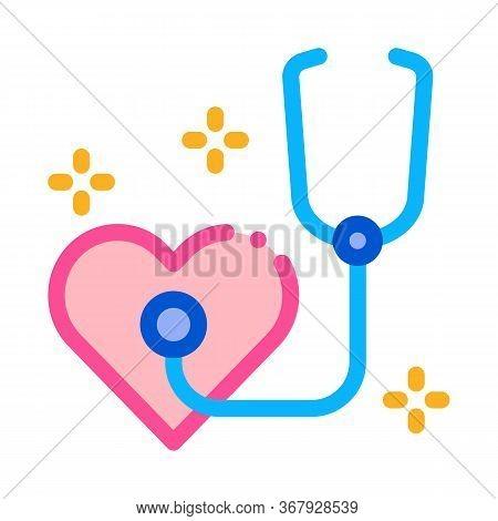 Heart Beat Measurements Icon Vector. Heart Beat Measurements Sign. Color Symbol Illustration