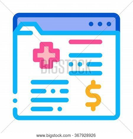 Medical Card In Paid Hospital Icon Vector. Medical Card In Paid Hospital Sign. Color Symbol Illustra