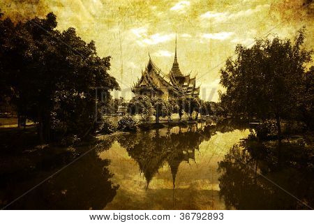 Vintage Postcard With Thai Style Temple