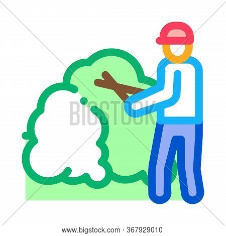 Gardener With Secateurs Icon Vector. Gardener With Secateurs Sign. Color Symbol Illustration