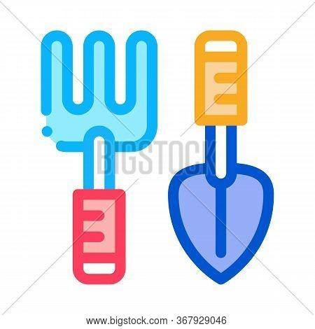 Hand Rake And Shovel Tools Icon Vector. Hand Rake And Shovel Tools Sign. Color Symbol Illustration