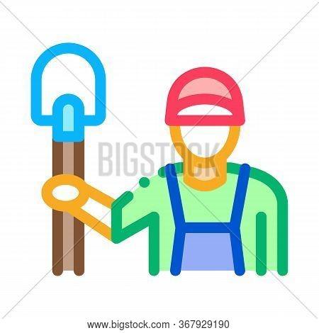 Shovel Worker Icon Vector. Shovel Worker Sign. Color Symbol Illustration