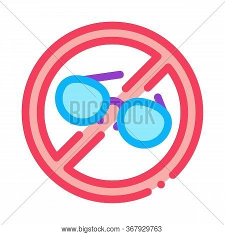Ban On Wearing Glasses Icon Vector. Ban On Wearing Glasses Sign. Color Symbol Illustration