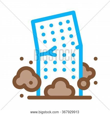 High-rise Building Collapse Icon Vector. High-rise Building Collapse Sign. Color Symbol Illustration