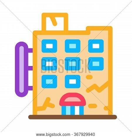 Crack On Residential Building Icon Vector. Crack On Residential Building Sign. Color Symbol Illustra