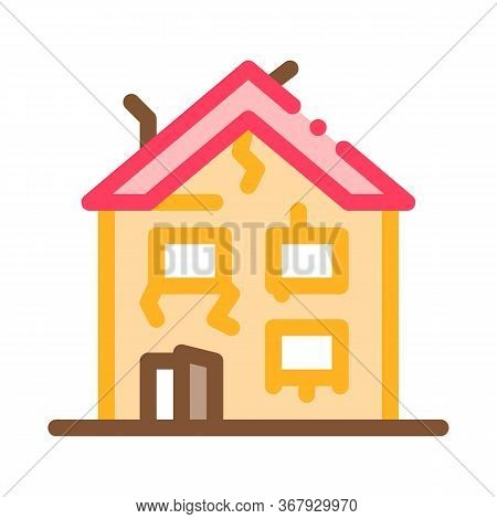 Collapse Of Old House Icon Vector. Collapse Of Old House Sign. Color Symbol Illustration