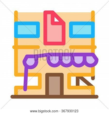 Residential Building For Restoration Icon Vector. Residential Building For Restoration Sign. Color S
