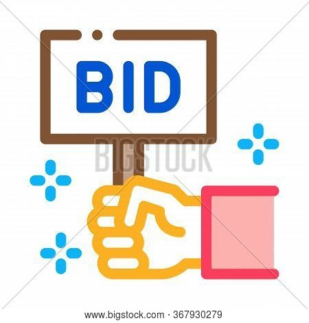 Bid Sign Icon Vector. Bid Sign Sign. Color Symbol Illustration