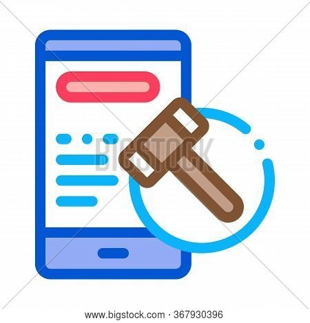Phone Version Of Auction Icon Vector. Phone Version Of Auction Sign. Color Symbol Illustration