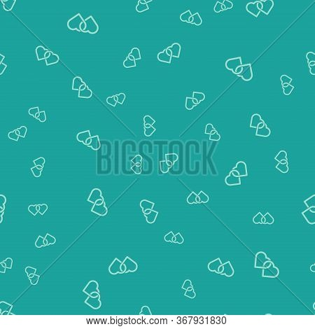 Green Two Linked Hearts Icon Isolated Seamless Pattern On Green Background. Romantic Symbol Linked,
