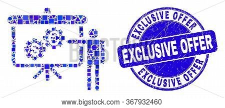 Geometric Financial Engine Presentation Mosaic Icon And Exclusive Offer Seal Stamp. Blue Vector Roun