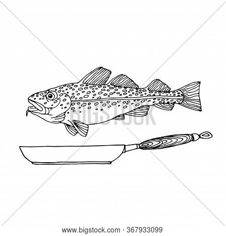 Atlantic Spotted Cod, Commercial Fish, Sea Predator, Delicious Food, With A Frying Pan, Vector Illus