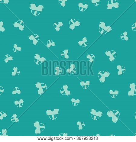 Green Virtual Reality Glasses Icon Isolated Seamless Pattern On Green Background. Stereoscopic 3d Vr