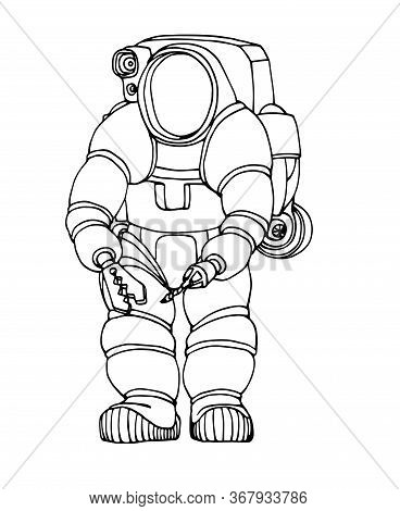 Modern Heavy Deep Water Diver Suit With Spotlight, Manipulator And Jetpack, Vector Illustration With