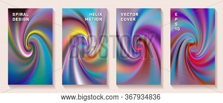 Gradient Spiral Rotation Cover Page Templates Vector Set. Creative Brochure Front Pages Collection.
