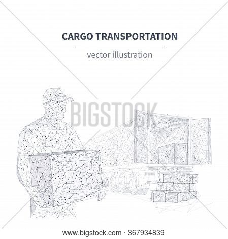 3d Delivery Man With Box Standing In Front Of Cargo Truck. Shipping Cargo Delivery, Logistics, Trans