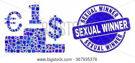 Geometric Currency Pedestal Mosaic Icon And Sexual Winner Seal Stamp. Blue Vector Rounded Textured S