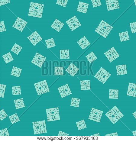 Green Suspect Criminal Icon Isolated Seamless Pattern On Green Background. The Criminal In Prison, S