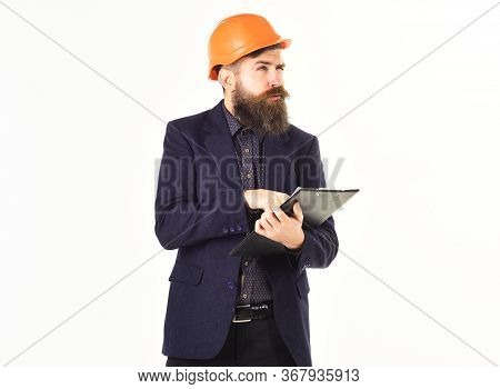 Building Site Inspector With Documents. Inspection, Supervision, Building, Construction Concept.