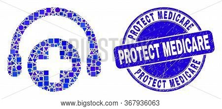 Geometric Medical Assistance Headphones Mosaic Pictogram And Protect Medicare Watermark. Blue Vector