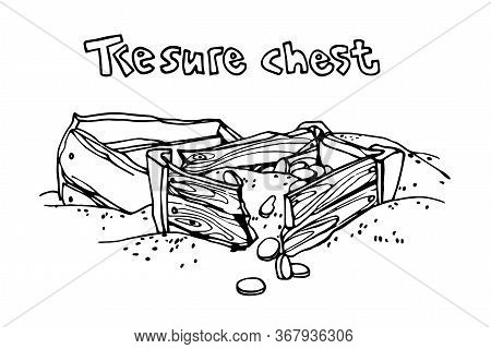Opened Old Wooden Treasure Chest & Golden Coins, Pirate Trove, Symbol Of Fortune And Wealth, Vector