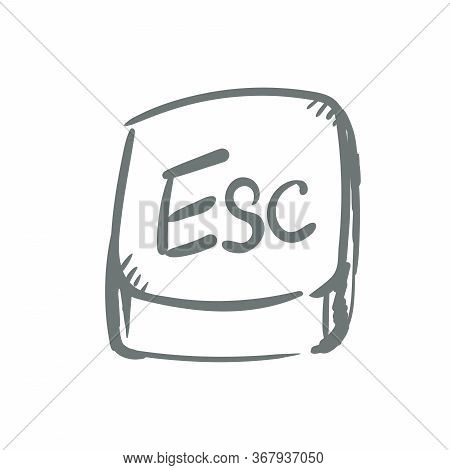 Escape Button Key . Doodle Icon, Vector Sign, Hand Drawing Style Pictogram Isolated On White. Symbol