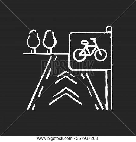 Bicycle Lane Chalk White Icon On Black Background. Path To Exercise On Bike. Pedestrian Street. Road