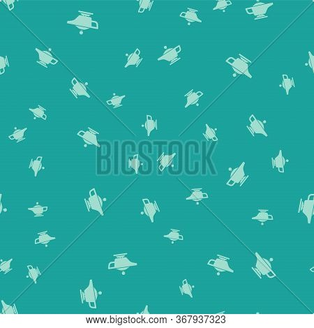 Green Magic Lamp Or Aladdin Lamp Icon Isolated Seamless Pattern On Green Background. Spiritual Lamp