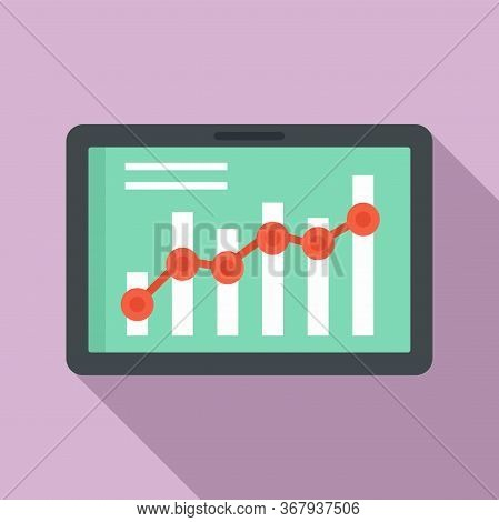 Tablet Business Graph Icon. Flat Illustration Of Tablet Business Graph Vector Icon For Web Design