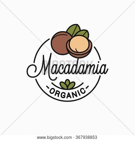 Macadamia Nut Logo. Round Linear Of Macadamia