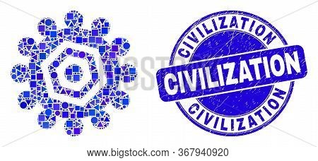 Geometric Gear Mosaic Icon And Civilization Seal Stamp. Blue Vector Round Grunge Seal With Civilizat