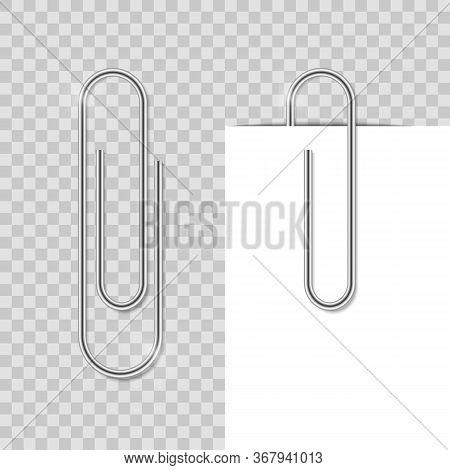Realostic Paper Clip. Metal School Clip With Shadow. Office Vector Binder Fix Paper