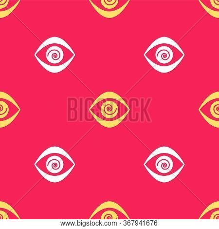 Yellow Hypnosis Icon Isolated Seamless Pattern On Red Background. Human Eye With Spiral Hypnotic Iri