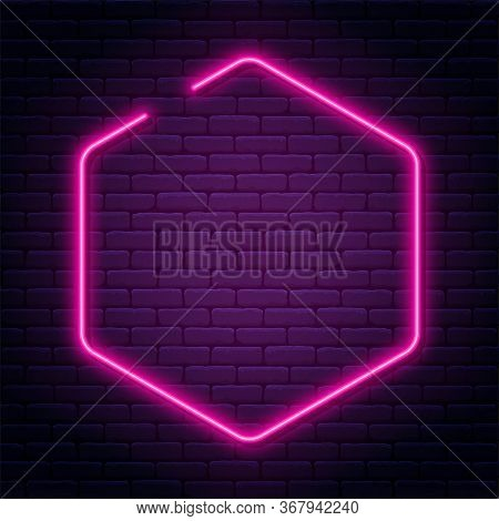 Neon Sign In Octagon Shape. Bright Neon Light, Illuminated Octagon Frame. Glowing Purple Neon Tube O