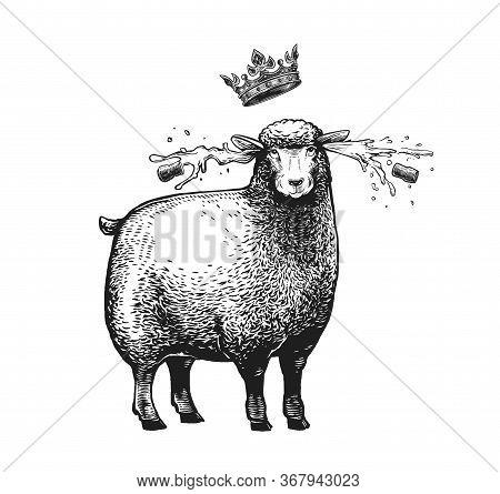 Cartoon Stylized Sheep With The Crown Over Her Head. Vector Illustration Of The Queen Sheep In Graph