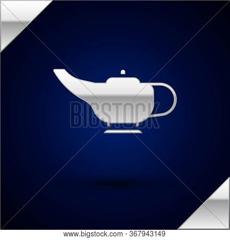 Silver Magic Lamp Or Aladdin Lamp Icon Isolated On Dark Blue Background. Spiritual Lamp For Wish. Ve