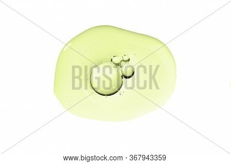 Skin Care Gel Transparent Sample Green Drop With Bubble Isolated On White Background. Serum Smear Sm