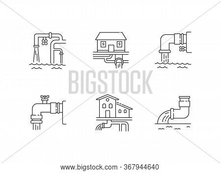 Drainage Pipe System Pixel Perfect Linear Icons Set. Home Sanitation Service. House Utility. Customi