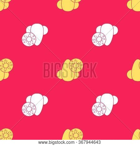 Yellow Runny Nose And Virus Icon Isolated Seamless Pattern On Red Background. Rhinitis Symptoms, Tre