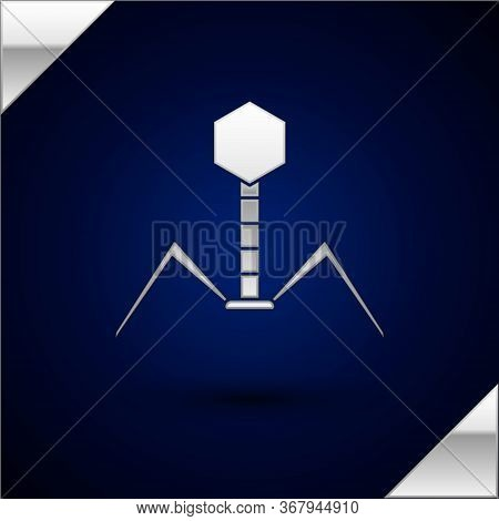 Silver Bacteria Bacteriophage Icon Isolated On Dark Blue Background. Bacterial Infection Sign. Micro
