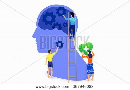 Mental Health ,brain Development  Medical Treatment Concept,people Work Together To Set Up Heart And
