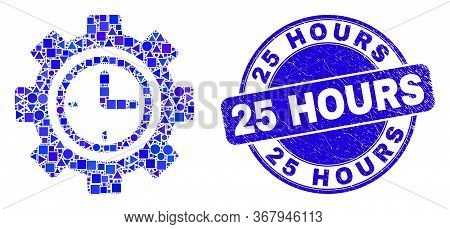 Geometric Clock Setup Wheel Mosaic Icon And 25 Hours Watermark. Blue Vector Round Scratched Watermar