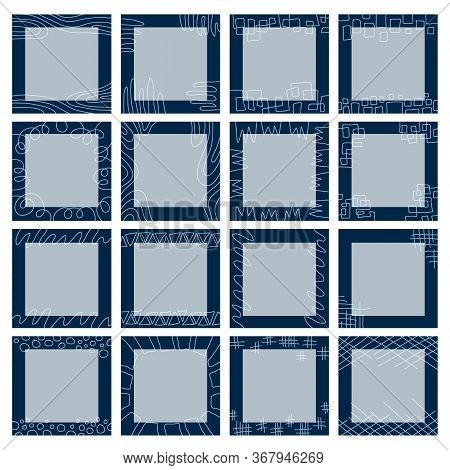 A Large Set Of Square Blue Backgrounds Consisting Of Graphic Patterns, Geometric Ornaments, Abstract